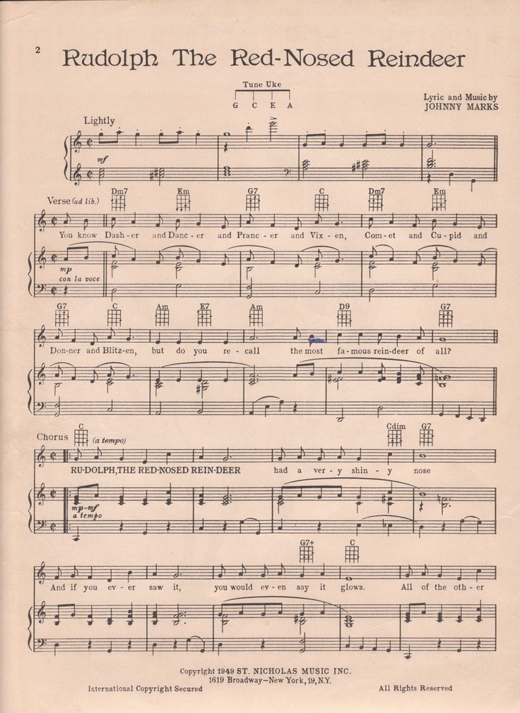 Rudolph sheet music download