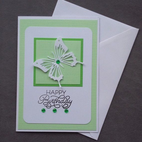 Green Birthday Card Pale Green 3d Butterfly Card Blank Etsy Happy Birthday Greeting Card Birthday Cards Greeting Cards Handmade