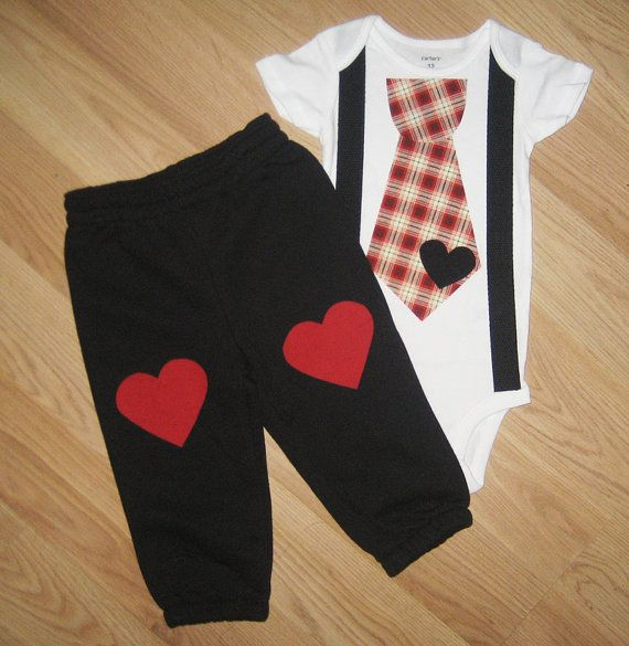 Baby boy Valentine's day outfit My first Valentines day Valentines outfit Baby boy Valentine outfit Heart Knee patch pants and onesie set on Etsy, $36.00