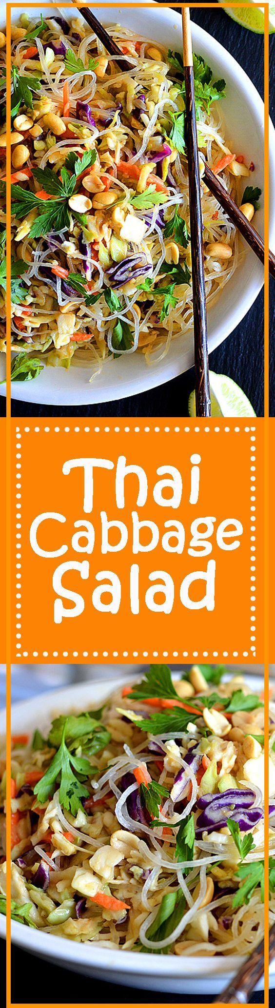 Thai Cabbage Salad - With a preparation time of less than 20 minutes, this salad is full of flavor and a perfect meal when you are on-the-go. Vegan and Gluten-free lunch or dinner meal