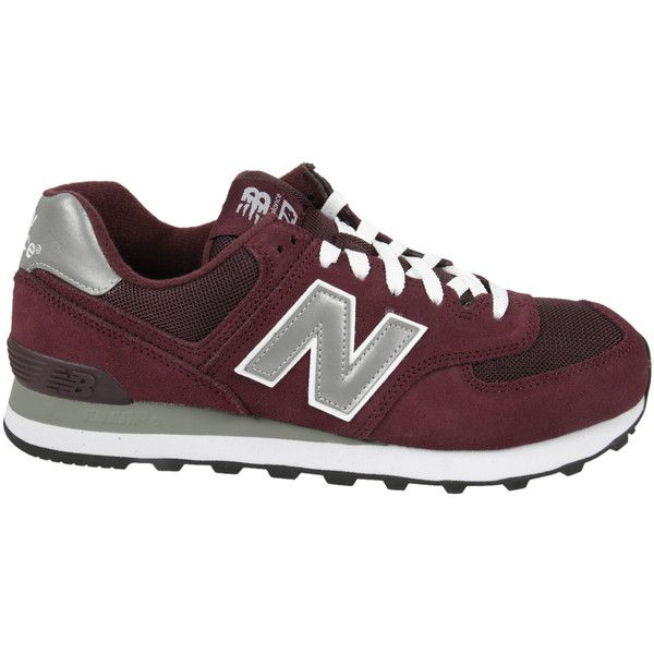 New Balance M 574 Sneakers ($78) ❤ liked on Polyvore featuring shoes, sneakers, burgundy, burgundy sneakers, round toe sneakers, new balance shoes, lace shoes and new balance trainers