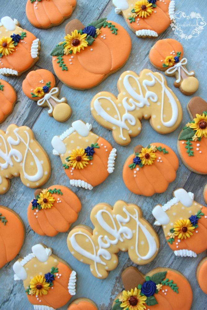 Fall Themed Baby Cookies Fall Baby Shower Cake Baby Shower