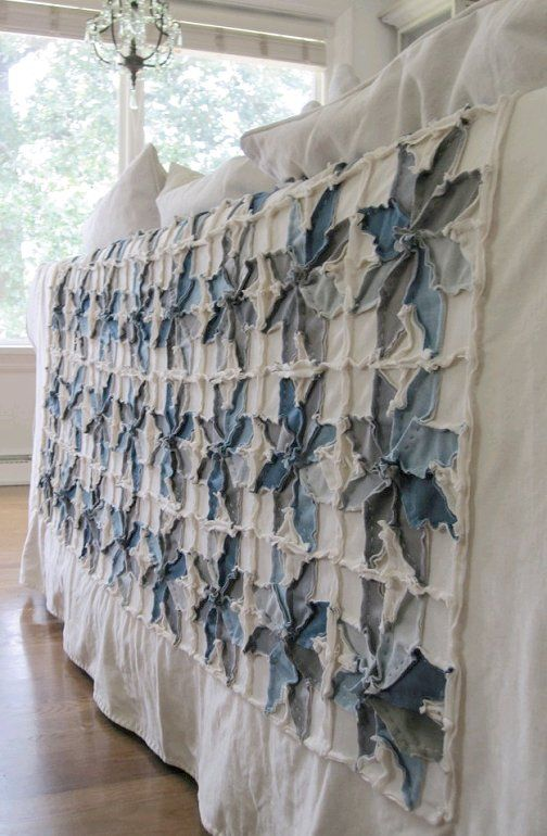 blue jeans rag quilt  - Dishfunctional Designs: Jeans & Denim: Recycled, Upcycled and Repurposed