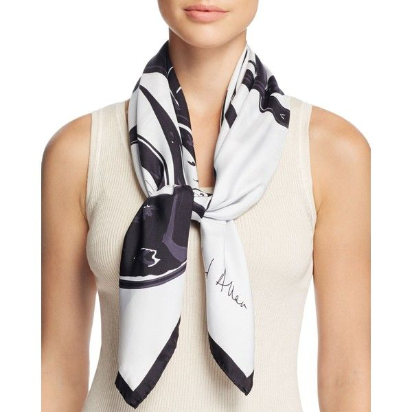 Echo Richard Allan Reva Silk Twill Scarf (870 ILS) ❤ liked on Polyvore featuring accessories, scarves, jet, silk twill scarves, vintage shawl, patterned scarves, echo scarves and print scarves