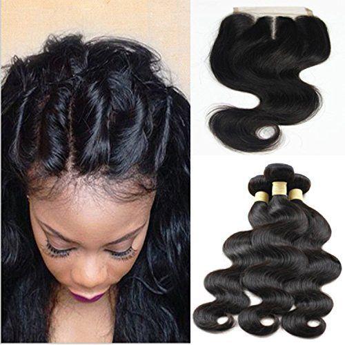 3 lots de tissage de cheveux humains brésiliens noirs naturels de grade 6A avec 1 fermeture 4x 4en dentelle, extensions de cheveux…