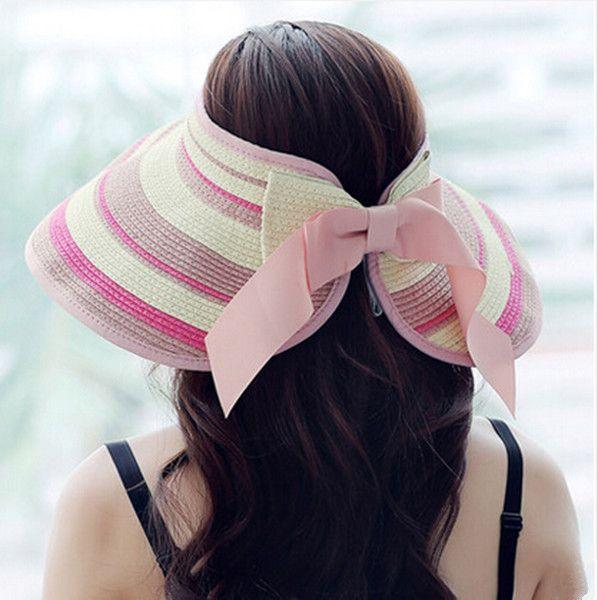 Women bow striped sun visor hat wide brim straw hat for beach wear