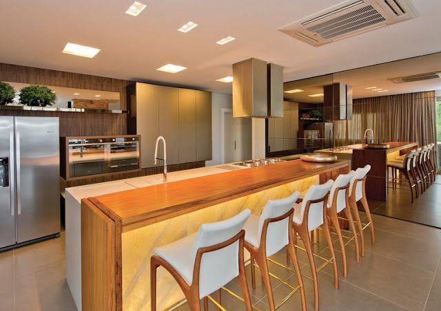 Cozinhas com bancadas de ônix iluminado - veja dicas de como usar e modelos lindos! - Decor Salteado - Blog de Decoração e Arquitetura