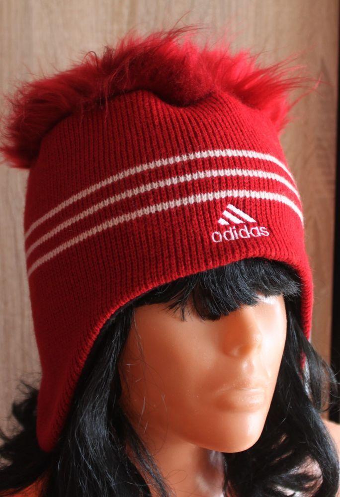 Red Vintage Knit Adidas Winter Ski Skateboard Hat Beannie #adidas #Beanie