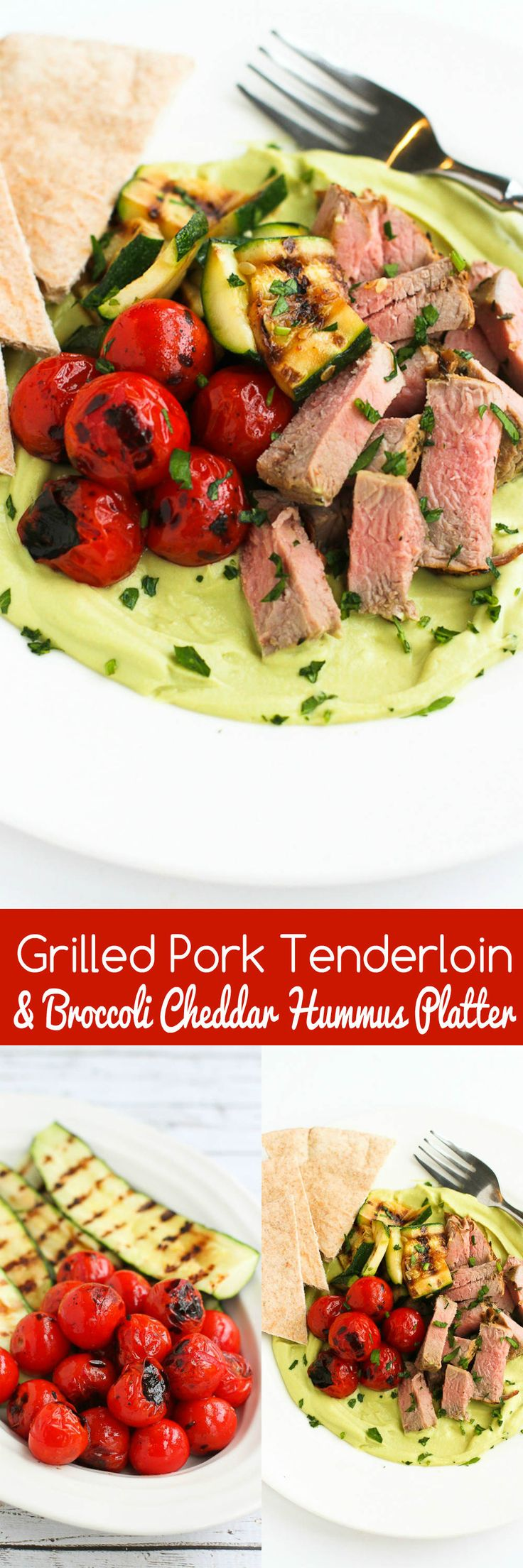 Grilled Pork Tenderloin & Broccoli Cheddar Hummus Platter…A fun take on a Middle Eastern dinner platter. And no one will ever guess what's in the hummus! 366 calories and 9 Weight Watchers SmartPoints...For the Chopped at Home Challenge! #ad