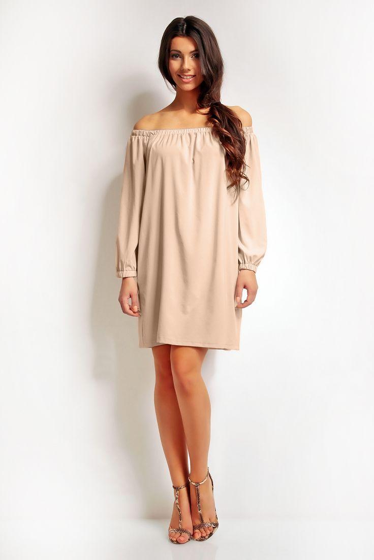 Luźna sukienka z długim rękawem z dekoltem obszytym gumką. Idealna propozycja na wiele okazji.  #modadamska #moda #sukienkikoktajlowe #sukienkiletnie #sukienka #suknia #sukienkiwieczorowe #sukienkinawesele #allettante.pl