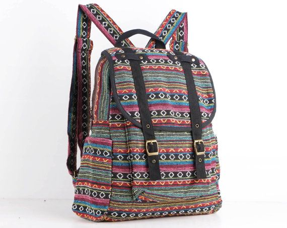 Rainbow Hippie Backpack Daycare Bag, Student/ Travel/ College/ Teen/ Hipster/ Boho Gypsy (Black Trim)