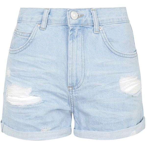 TOPSHOP MOTO Bright Blue Ripped Rosa Shorts ($50) ❤ liked on Polyvore featuring shorts, bottoms, pants, light blue, destroyed shorts, ripped shorts, light blue shorts, mid rise shorts and topshop