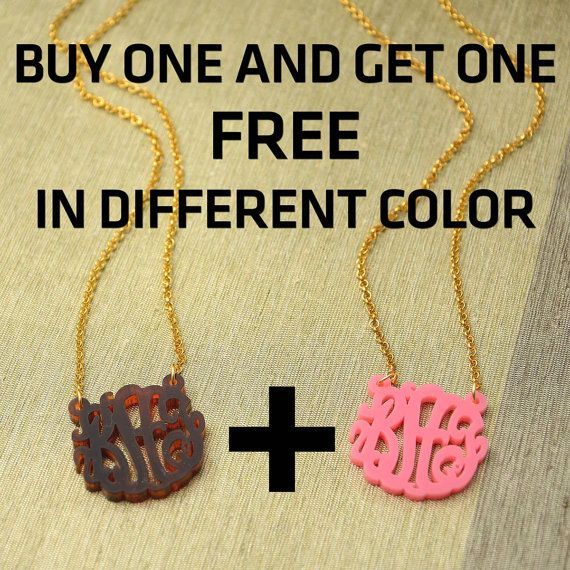Monogrammed Necklace PROMO Buy one get one FREE in different color - Personalized Wedding Gift Jewelry, $27.99