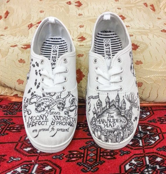 Harry Potter Marauders Map Shoes    Requests for other sizes accepted    Great gift for all occasions especially for Harry Potter lovers!    Hand Drawn