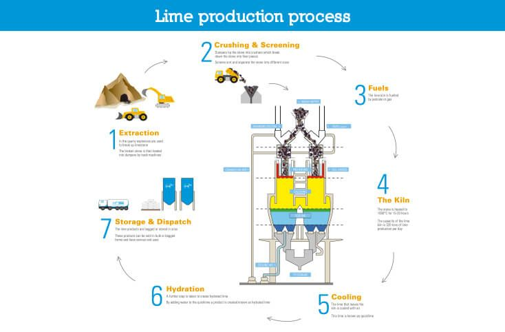 infographic showing lime production process graphic design by AKGraphics