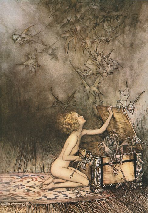 Milla arrives in Buckley to investigate the death of her mother  (Pandora by Arthur Rackham)