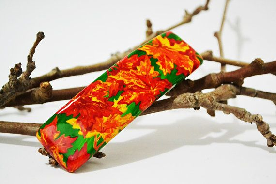 Hand painted Wooden Hair clip Hand painted Wooden Hair