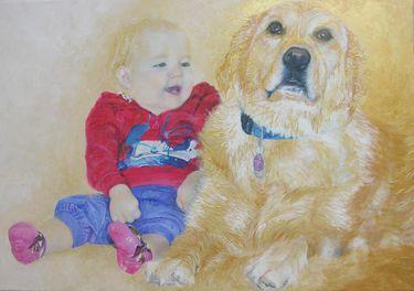 "Saatchi Art Artist Maria Westra; Painting, ""FELINE AND DJINNY"" #art"