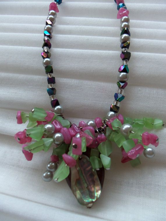 "FancyPants Necklace: multi-color beaded, wire-work necklace, approximately 9.5"" in length"