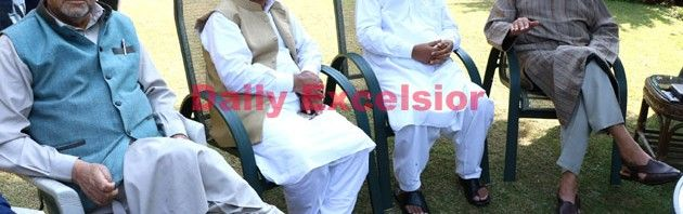 NC Patron Dr. Farooq Abdullah chairing an All Party meet at his Gupkar Residence on Friday.Excelsior\Shakeel-ur-Rehman
