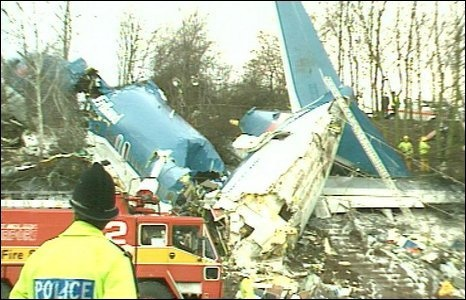 8 January 1989 - British Midland Flight BD 92, a Boeing 737–400, crashed onto the embankment of the M1 motorway near Kegworth, Leicestershire, in England. The aircraft was attempting to conduct an emergency landing at East Midlands Airport. Of the 126 people aboard, 47 died and 74, including seven members of the flight crew, sustained serious injuries