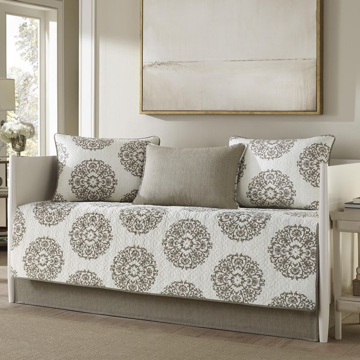 Daybed cover set is 100-percent cotton, inlcudes daybed cover, 3 standard shams and coordinating bedskirt.
