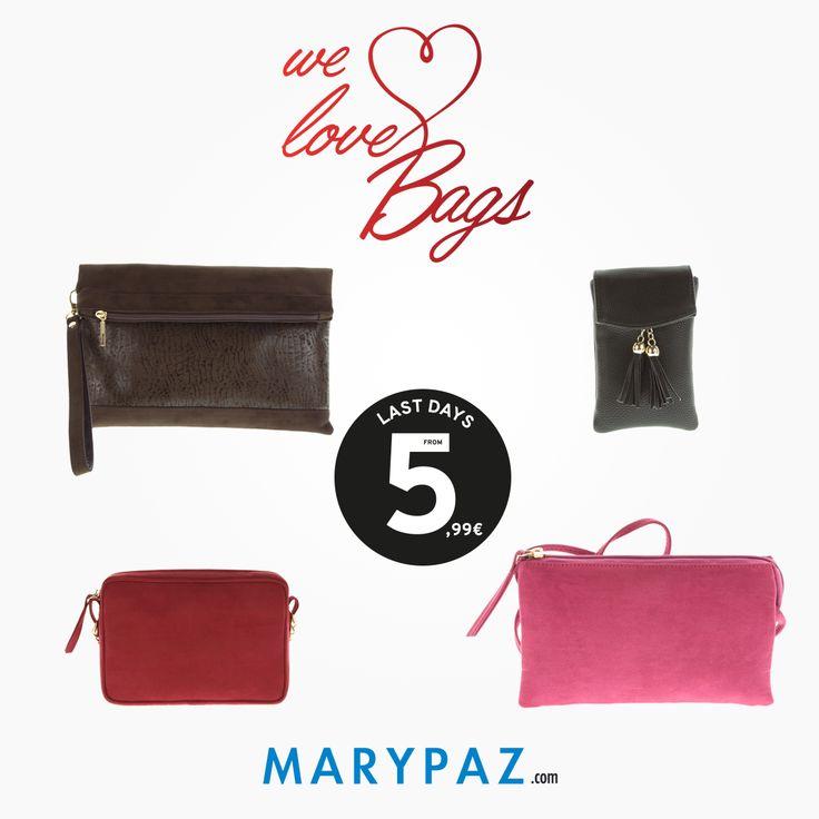 MARYPAZ loves ❤️❤️❤️ ¡ Conoce nuestra colección de bolsos AHORA desde 5,99 € ! ►►► LAST DAYS FROM 5,99 € Aprovéchate de los ÚLTIMOS DÍAS de MARYPAZ desde 5,99 € en muchos de nuestros artículos en TIENDA y ONLINE www.marypaz.com #welovebolsos #conocenuestrosbolsos #bolsos #coleccionbolsos #rebajasmarypaz #lastdays #shoponline #rebajas   Descubre nuestra colección de bolsos aquí http://www.marypaz.com/tienda-online/index.php/bolsos.html