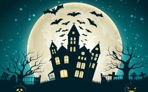 Картинка Holiday halloween, scary house, horror, creepy, full moon, castle, trees, bat, vector, evil pumpkin