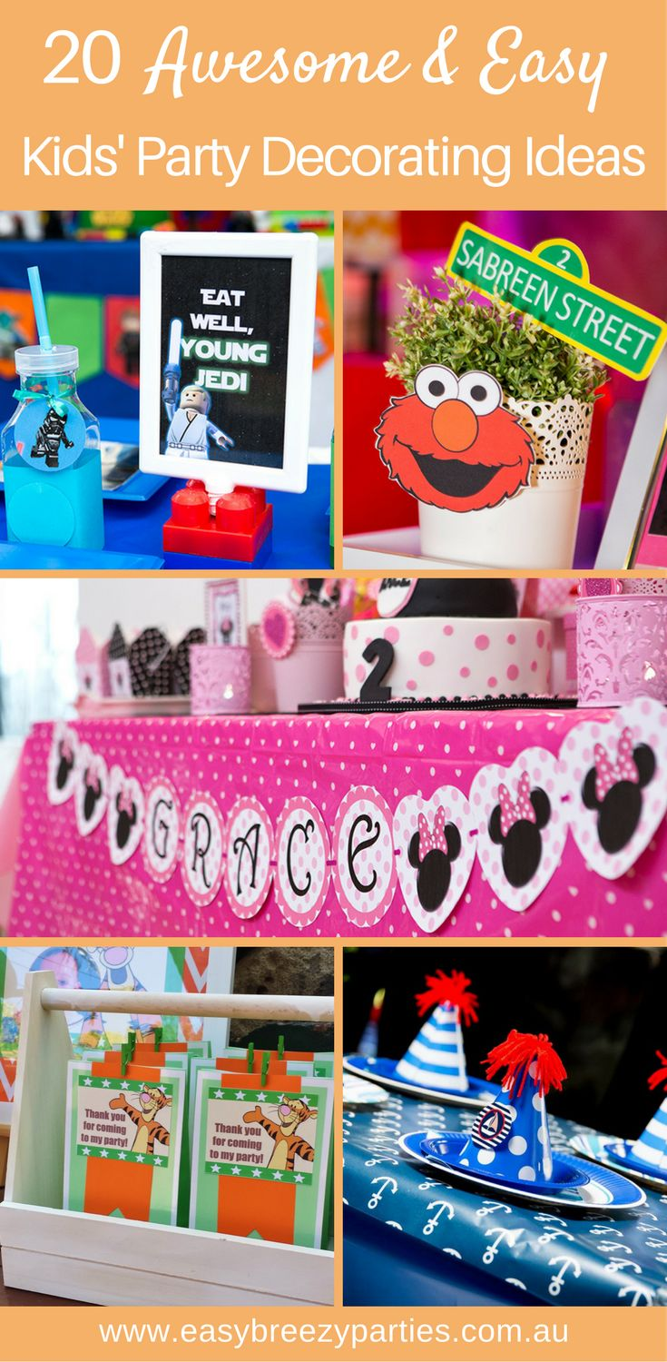 20 ideas for easy kids party decorations that look great and aren't hard to do. By Easy Breezy Parties
