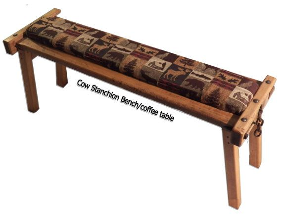 Antique Wooden Cow Stanchion Bench And Coffee By