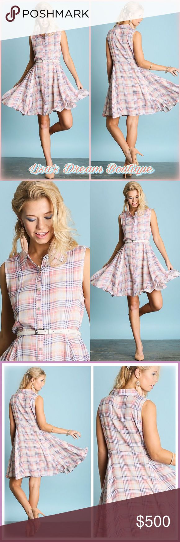 ✨New Arrival!✨Plaid Print Shirt Dress✨ 🆕Super Cute Pastel Plaid button down shirt dress...🌷Premium quality from Umgee🌷Fits true to your normal size🌷Practical and  versatile, can be dressed up or down as well as changing belt color for a different look👀🛍Lightweight cotton-blend, extremely comfy!🌼🔹NO TRADES🔹PRICE WILL BE FIRM UNLESS BUNDLED🔹💟25% OFF BUNDLES {Limited Time}💟 LDB Dresses Midi