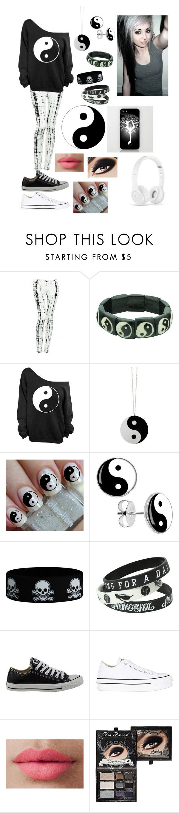 """Yin yang"" by skygrace02 ❤ liked on Polyvore featuring Hudson Jeans, Converse, LORAC, Too Faced Cosmetics, Beats by Dr. Dre, white, black, emo and yinyang"
