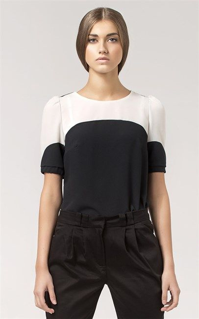 Ozsale - Short Sleeved Two Toned Blouse Black Ecru by Nife was $92 and is now $29.