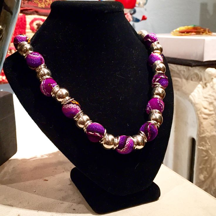"""""""Magenta Necklace"""" - Cusco Manta beads and silver finish - Handcrafted by Pilar Morales - $39"""
