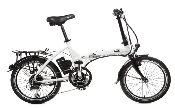 A2B Kuo Plus - Electric Folding Bike (White). Maximum power assisted speed, 19mph. Range up to 37mi (60km). Battery Lithium-Ion, 36v 9Ah. Recharging 4-6 Hours. Assistance Pedal assist or Power on demand.