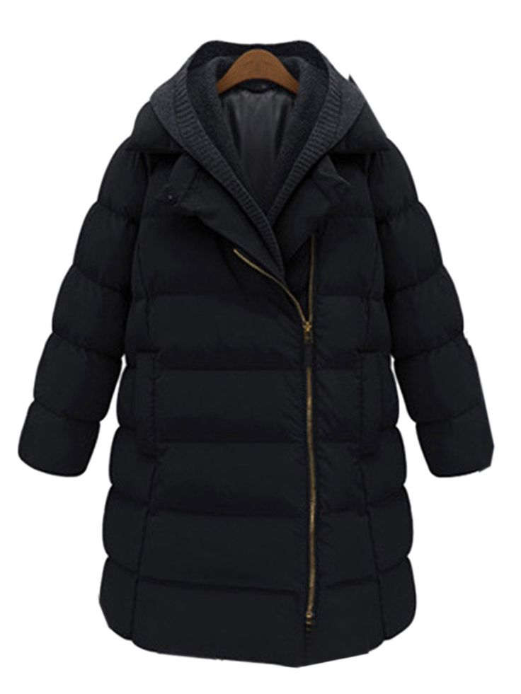Love this Coat! Cozy Black Longline Parka Coat With Removable Hood | Choies #Cozy #Black #Winter #Coat #Fashion
