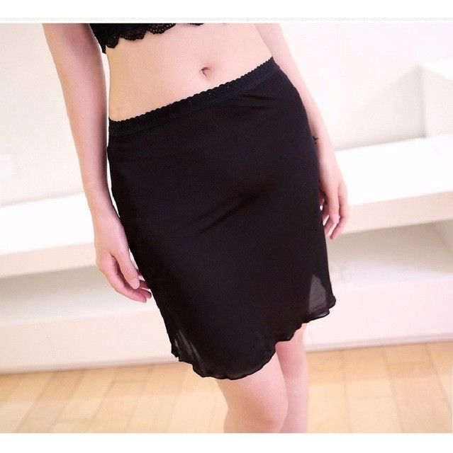 100% Pure Silk Women's Half Slips Femme Simple Thin Sexy Lace Elastic Slim Underskirts Women Black Female Slip Woman Chemises