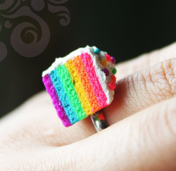 """Rainbow Cake Ring - As seen in the Korean Soap Opera """"Panda and Hedgehog"""" - By Cutetreats On Etsy OH GOD I FOUND IT!!! I want my boyfriend to get me this....IF I HAD ONE! (That is korean, and looks like Donghae XD)"""
