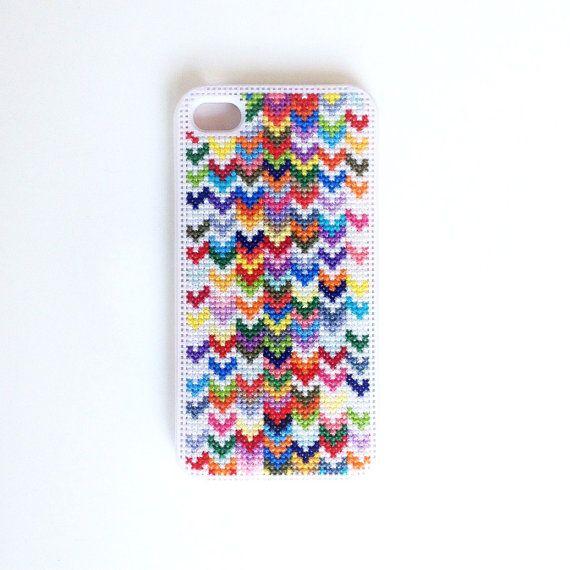 Ombre Rainbow Chevron Cross Stitch iPhone Case