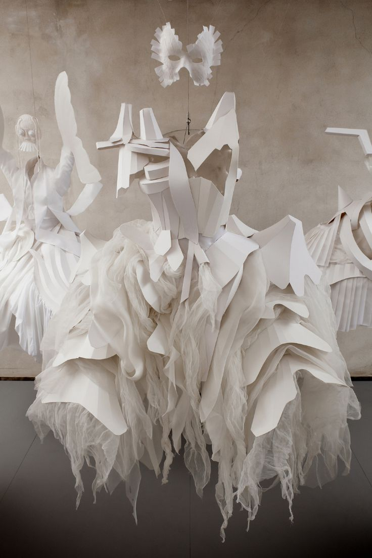 Monochrome Dress Art Installation - reflecting on the past & present and cultural commonalities // Laura Baruël ripped clothing silhouette sculptures; dress landscapes