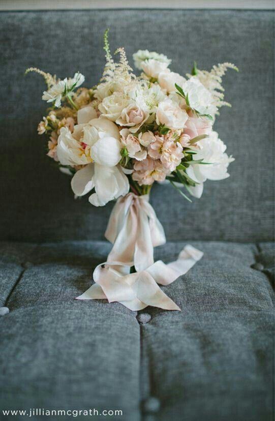{White Peonies, White Garden Roses, White/Pastel Green Scabiosa, Peach/Blush Stock, White Astilbe, Hand Tied With Blush, Silk Ribbon}