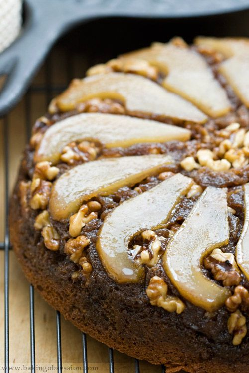 Pear Honey and Walnut Upside-Down Cake.