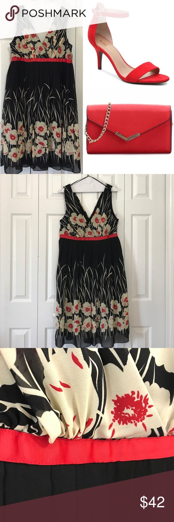 """Women Dress Catch an eye with this urban expression! Dress Barn women size 16 black, cream and red deep """"V"""" front/back design dress. Side zipper, fully lined and red ribbon waist design. Dress has molded bra cup inserts. Accessories sold separately. FREE Smart Tape ($10 Value) when you purchase dress at listed price. Dress Barn Dresses Midi"""