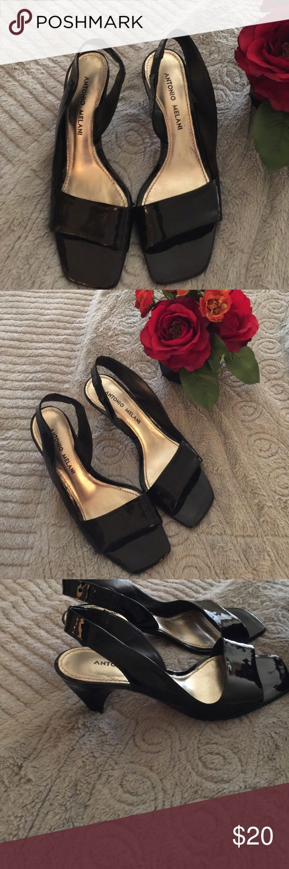 Patent leather black Antonio Melani Sz 6 Pair of a beautiful pair of Strappy Sandals patent black leather by Antonio Melani Sz 6 2 1/2 inch heels so pretty in perfect condition no stains or rips. ANTONIO MELANI Shoes Heels
