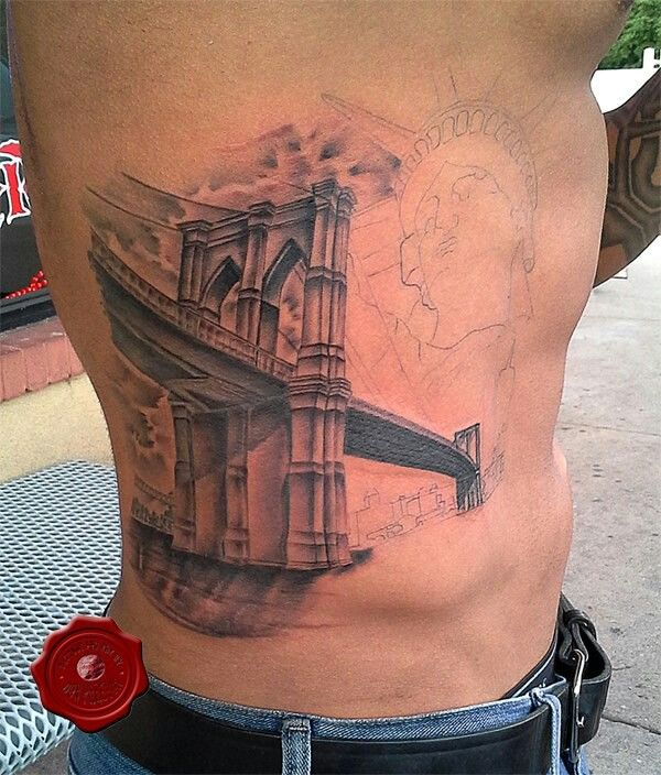 Brooklyn bridge tattoo in progress by don preston tattoo for Brooklyn tattoo ideas