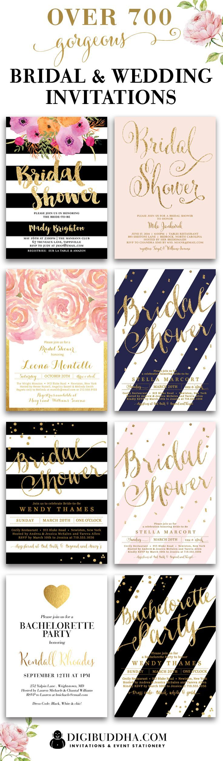 Over 700 gorgeous + original impressive bridal shower invitations and wedding invitations in styles ranging from modern to classic to elegant, glam, rustic and even boho chic. In any color and just about any fonts you can imagine. Plus add matching envelope liners, address labels and coordinating color envelopes to complete the look. Your guests will be talking about your invitations long after the event. Wow them with beautiful invitations. Only at digibuddha.com.