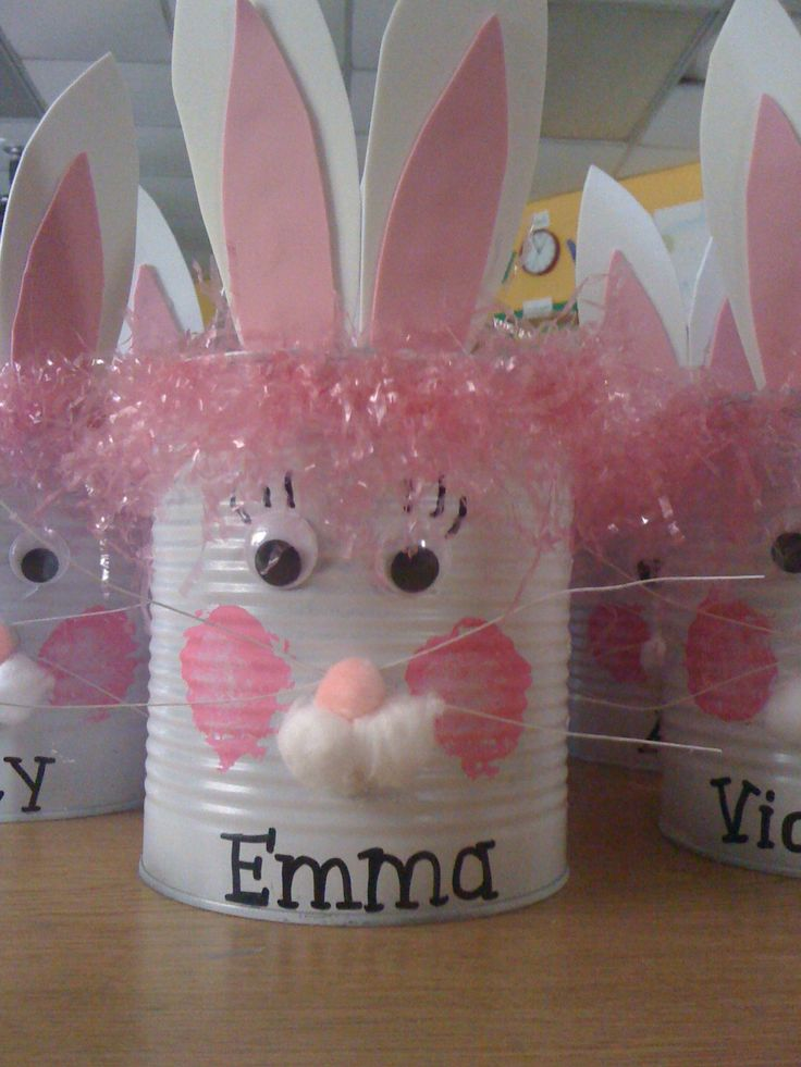 easterEaster Parties, Bunnies Crafts, Easter Crafts, Easter Bunnies, Cans Crafts, Easter Gift, Easter Baskets, Tins Cans, Easter Ideas