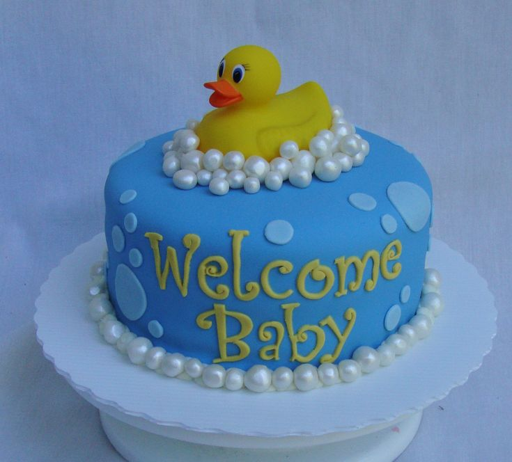 "duck baby shower cake - 9"" fondant covered cake, real rubber ducky, fondant bubbles with pearl luster dust"
