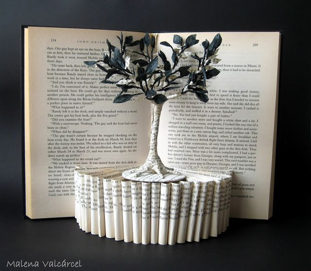 Paper sculpture from a book.