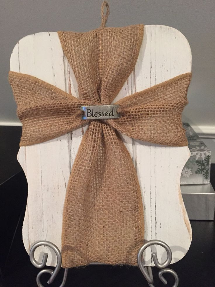 Burlap Cross on White Washed Plaque - by Simpatico Creations